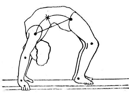 Определение положения центров тяжести звеньев тела человека