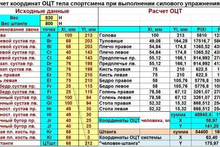 Миниатюра для записи Расчет положения ОЦТ тела человека стандартным способом